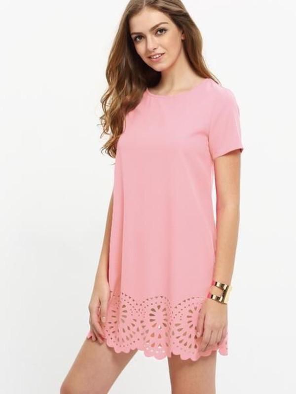 dress pink dress laser cut short dress light pink pink scalloped cute dress summer dress spring outfits blush pink