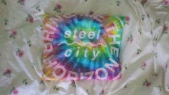 t-shirt bring me the horizon multicolor tie dye band t-shirt band crop top grunge soft grunge