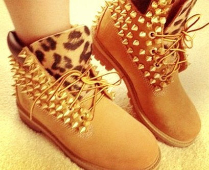 Tan Studded Timberlands on Wanelo