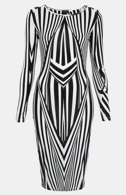 Topshop black white stripe print optical bodycon dress for Black and white celebrity prints