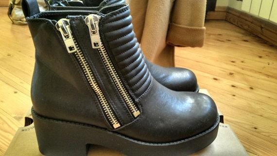 nouveau zip double noir trapu bottines par Nozu sur Etsy