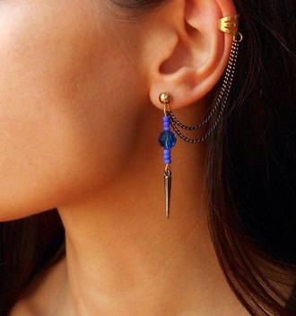 jewels earing cuff blue jewels purple jewels