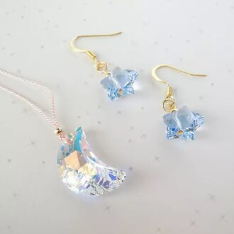 jewels moon stars moon and star charms earrings pendant necklace holographic transparent clear crystal