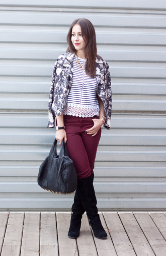 adventures in fashion blogger jacket top bag jewels stripes burgundy black boots