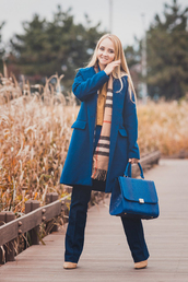 my blonde gal,blogger,blouse,coat,bag,scarf,jeans,top,shoes,fall outfits,blue coat,blue bag,handbag