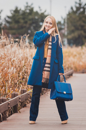 my blonde gal blogger blouse coat bag scarf jeans top shoes fall outfits blue coat blue bag handbag