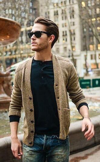 cardigan brown beige style menswear hipster menswear