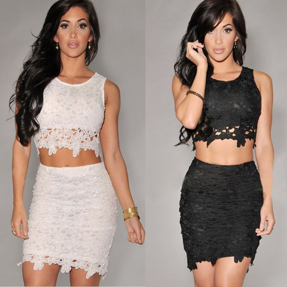 Crop Top and Skirt Girl Lady Clothing set Sexy Two-piece Lace dress Bodycon Mini
