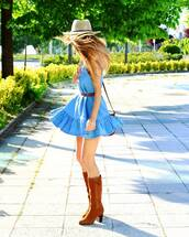 dress,tumblr,denim,hat,mini dress,blue dress,denim dress,sleeveless,sleeveless dress,boots,brown boots,sun hat