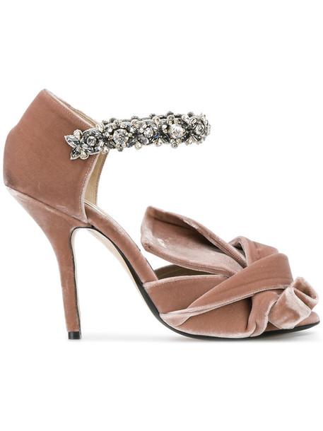 No21 bow women embellished sandals leather velvet purple pink shoes