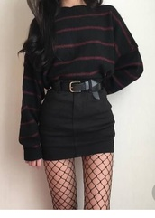 blouse,shirt,skirt,belt,fishnet tights,tights,sweater,black,jumper,white,red,korean fashion,ulzzang,fashion,stripes,edgy,mesh,red sweater,black sweater,red and black sweater,striped top,striped sweater,dark,grunge