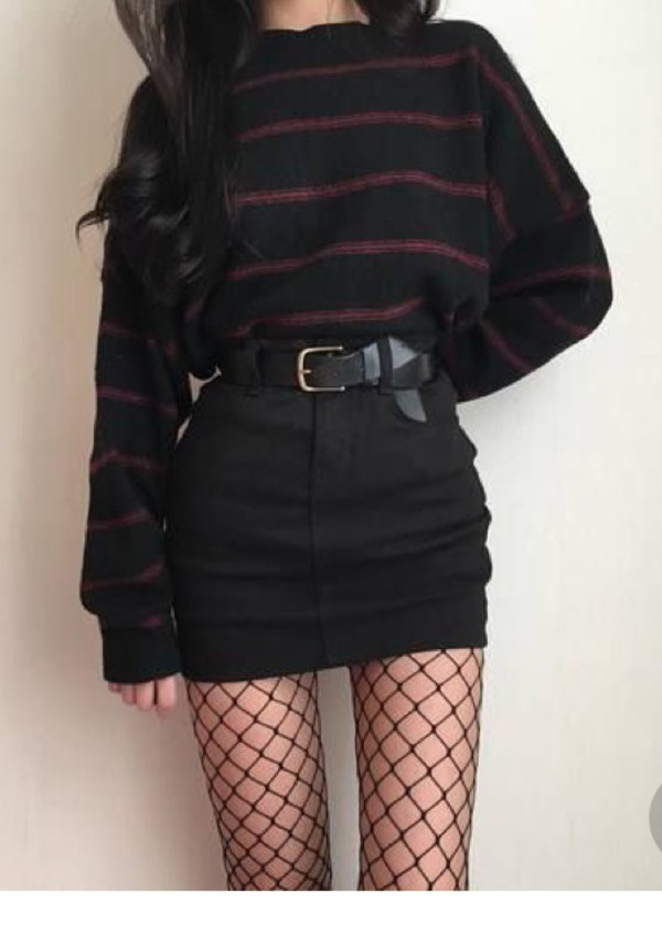 blouse shirt skirt belt fishnet tights tights sweater black jumper white red korean fashion ulzzang fashion stripes edgy mesh red sweater black sweater red and black sweater striped top striped sweater dark stripes grunge