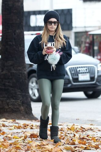sweater sweatshirt leggings ashley tisdale beanie boots fall outfits streetstyle