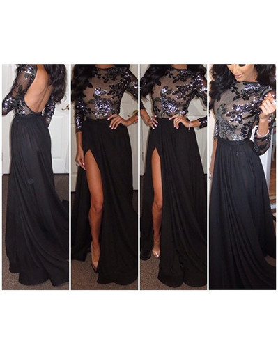 Long maxi flower sequins glitter black mesh long sleeves evening dress