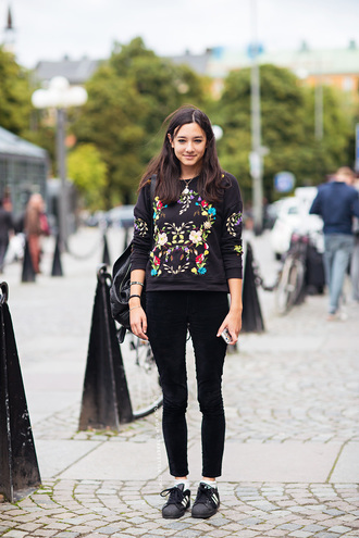 sweatshirt black sweater embroidered floral sweater floral sweatshirt fall outfits