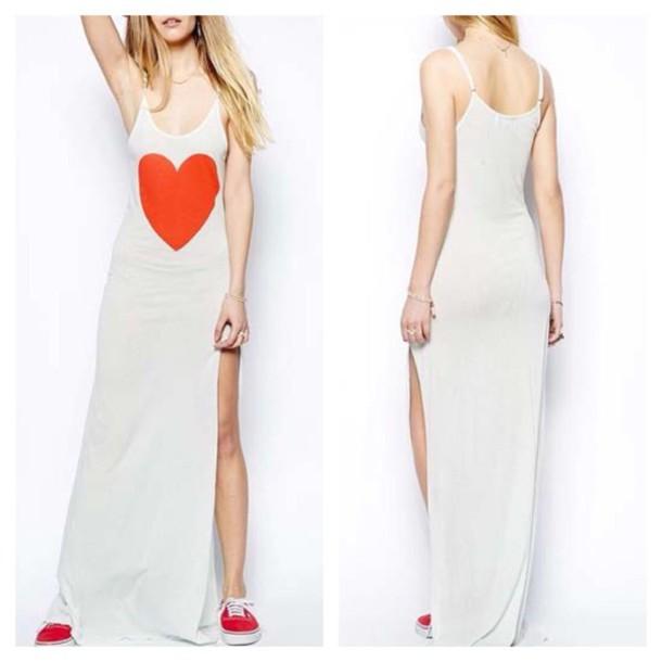 dress maxi dress heart