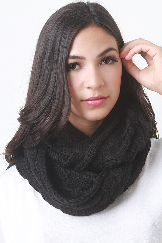 Braided Crochet Knit Infinity Scarf