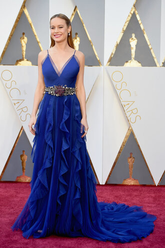 dress gown prom dress blue blue dress brie larson oscars 2016 red carpet dress gucci royal blue dress royal blue