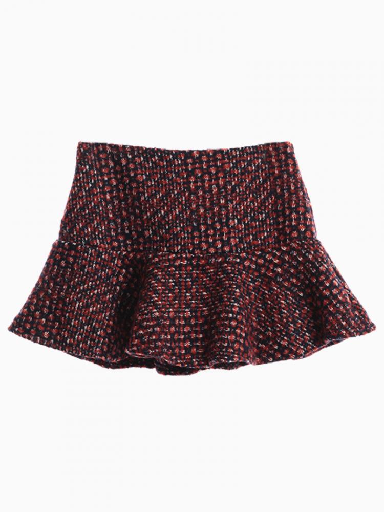 Winered Tweed Skirt With Ruffle Hem | Choies