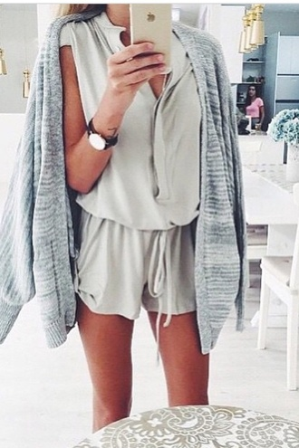 jumpsuit grey overalls white dress jacket