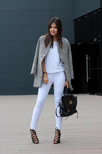 coat t-shirt shoes bag jewels grey coat white pants high heel sandals black bag handbag