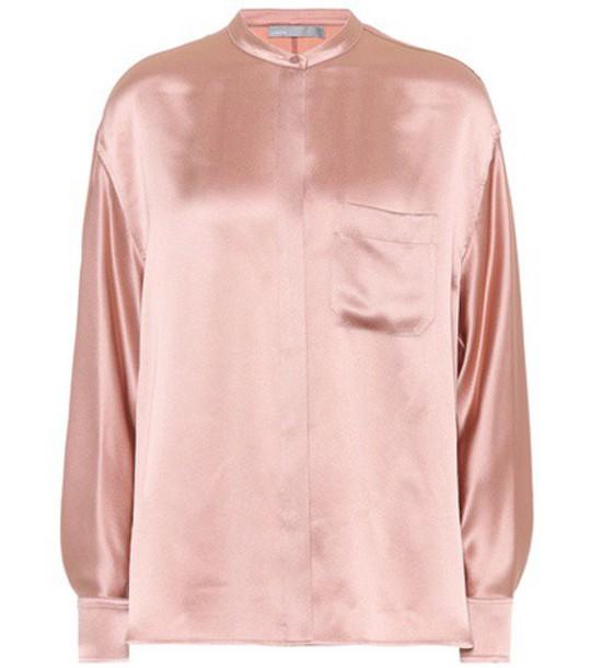 Vince shirt silk satin pink top