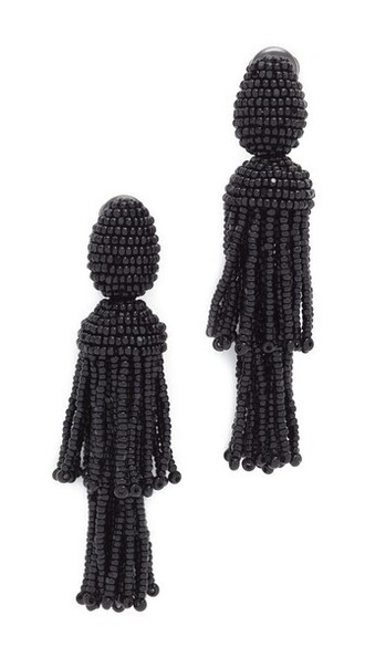 short tassel earrings black jewels