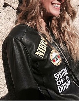 nirvana system of a down guns and roses black leather jacket patch embellished jacket embellished leather jacket