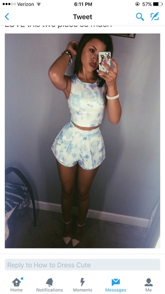 romper two piece set blue and white