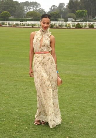 brown dress zoe saldana
