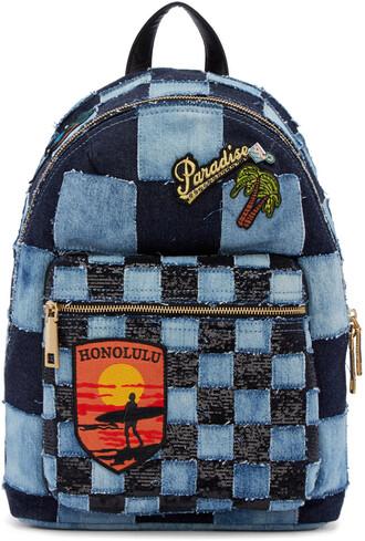 denim patchwork backpack blue bag