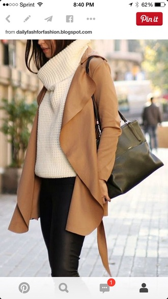 coat sweater jeans bag white sweater