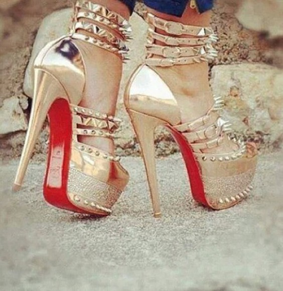 shoes spiked shoes red bottoms platform high heels
