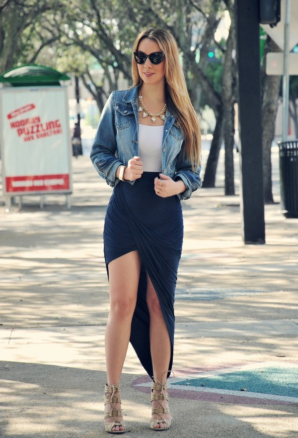 skirt top denim jacket black blue jewels shoes blue skirt navy jacket denim jacket wedges sunglasses wrap maxi skirt pinterest dress cute summer wrap skirt wrap skirt dress style shirt summer dress summer top black lng slit skirt cardigan