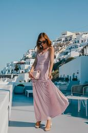 vogue haus,blogger,dress,bag,sunglasses,maxi dress,lilac dress,summer outfits,vacation outfits,vacation dresses