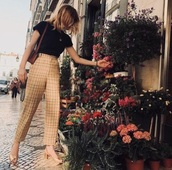 pants,vinatge,checkered,stripes,retro,90s style,80s style,00s,high waisted,formal,beige,classy,alternative,long,long pants,brown,check,checkered pants