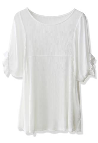 blouse relaxed white crepe dolly top