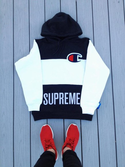 supreme supreme hoodie champion champion hoodie black and white