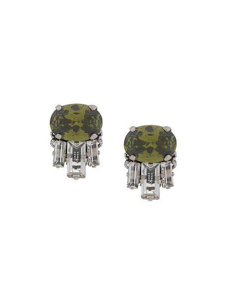 women embellished earrings green jewels
