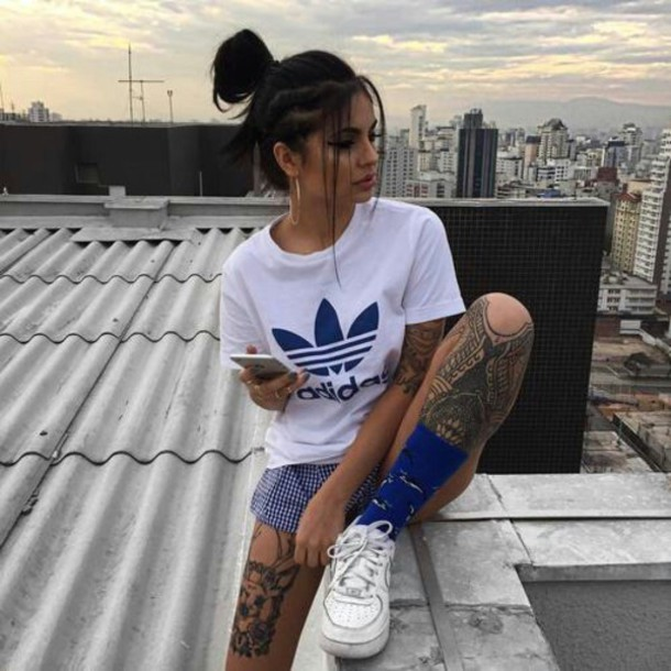 new product 1caf4 ac850 shoes nike adidas white tattoo hair blue girl nike air force