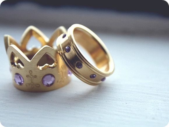 jewels ring gold ring crown ring gold crown ring purple diamond heart