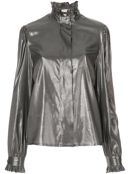 Alyx blouse metallic women silk grey top