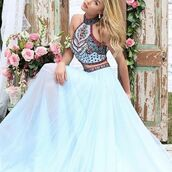 dress,sherri hill,halter dress,2 piece prom dress,prom dress,printed dress,blue dress