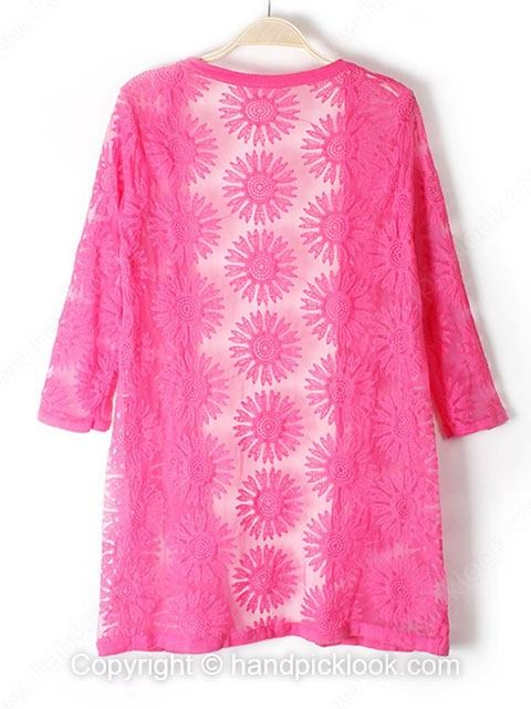 Fuchsia Three Quarter Length Sleeve Embroidery Knit Top - HandpickLook.com