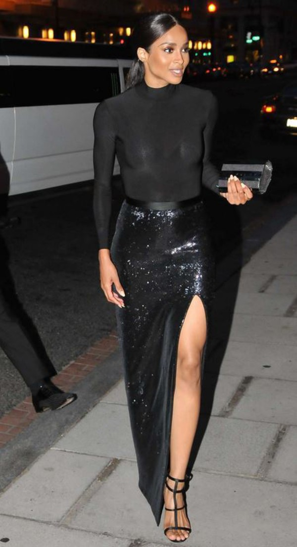 Ciara Black Sequin Maxi Skirt with Slit Prom Gown For Sale ...