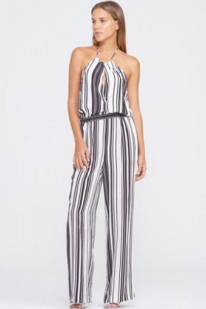 d9559231b18a jumpsuit stripes black and white stripes halter neck sleeveless jumpsuit  white and black stripes black and