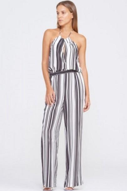 8de9b7219d57 jumpsuit stripes black and white stripes halter neck sleeveless jumpsuit  white and black stripes black and