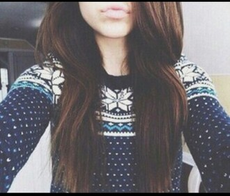 sweater jumper winter outfits fall outfits cozy warm cold tumblr girl teenagers cute cool pattern christmas snow snowflake polka dots navy white blue