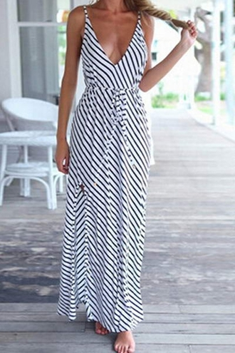 dress stripes black and white maxi long dress cleavage summer style