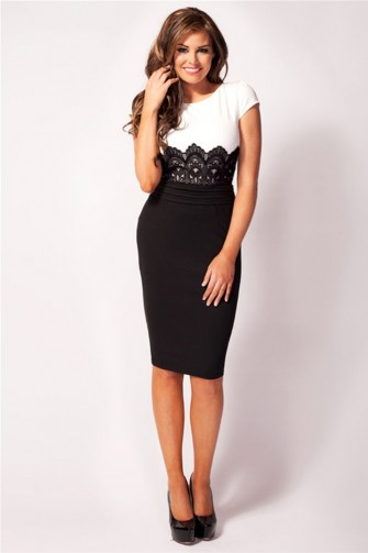 Jessica Wright Ivy Black and White Lace middle Dress
